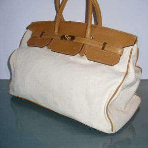 Large Leather and Canvas Satchel